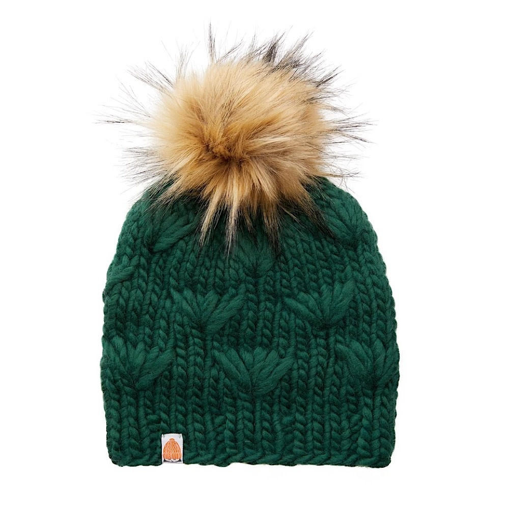 Sh*t That I Knit - Motley Beanie - Forest - Faux Fur Pom