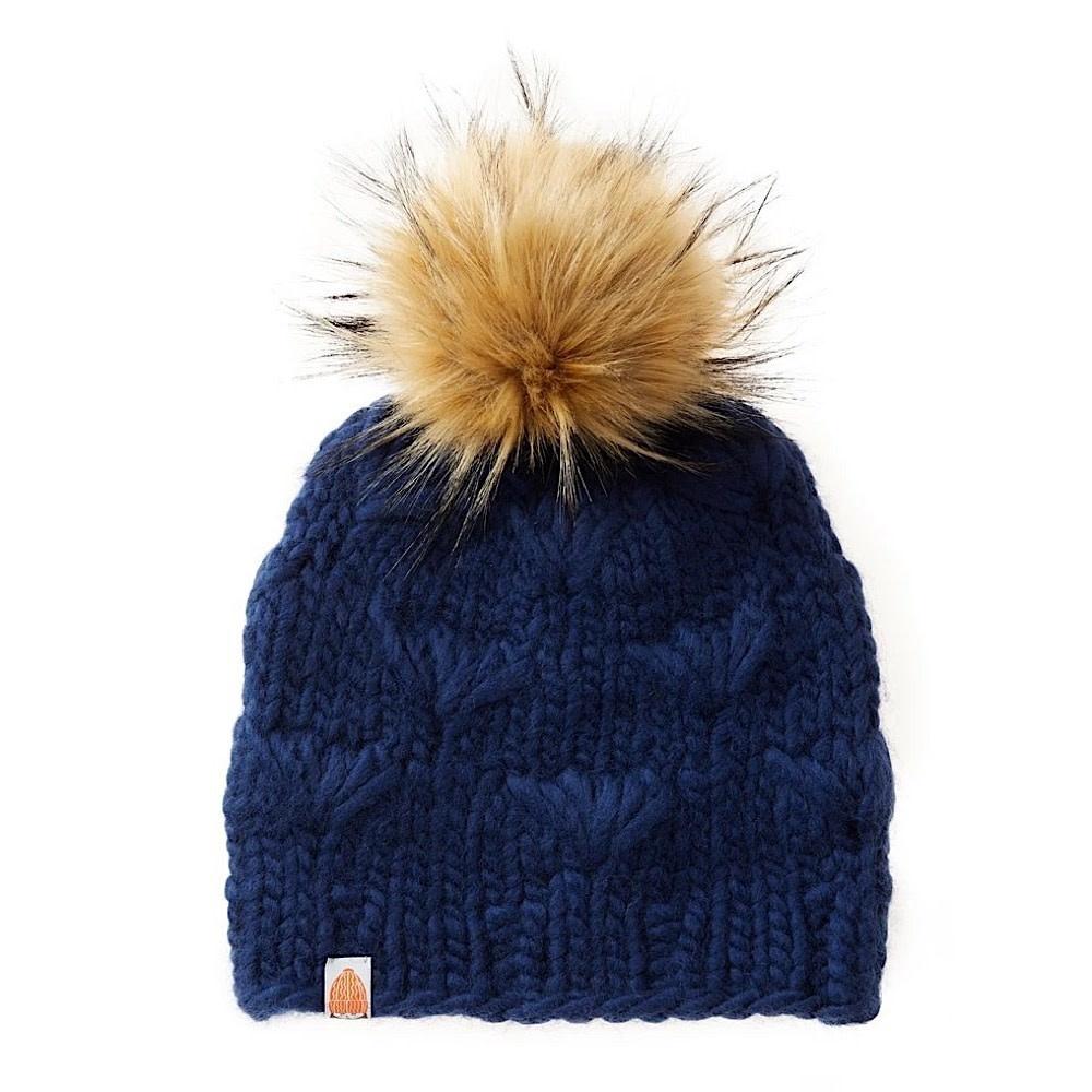 Sh*t That I Knit - Motley Beanie - Navy - Faux Fur Pom