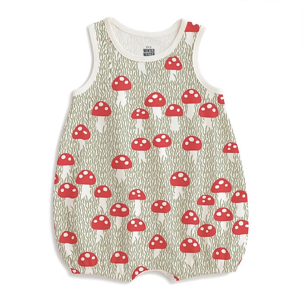Winter Water Factory Winter Water Factory Bubble Romper - Mushrooms Sage