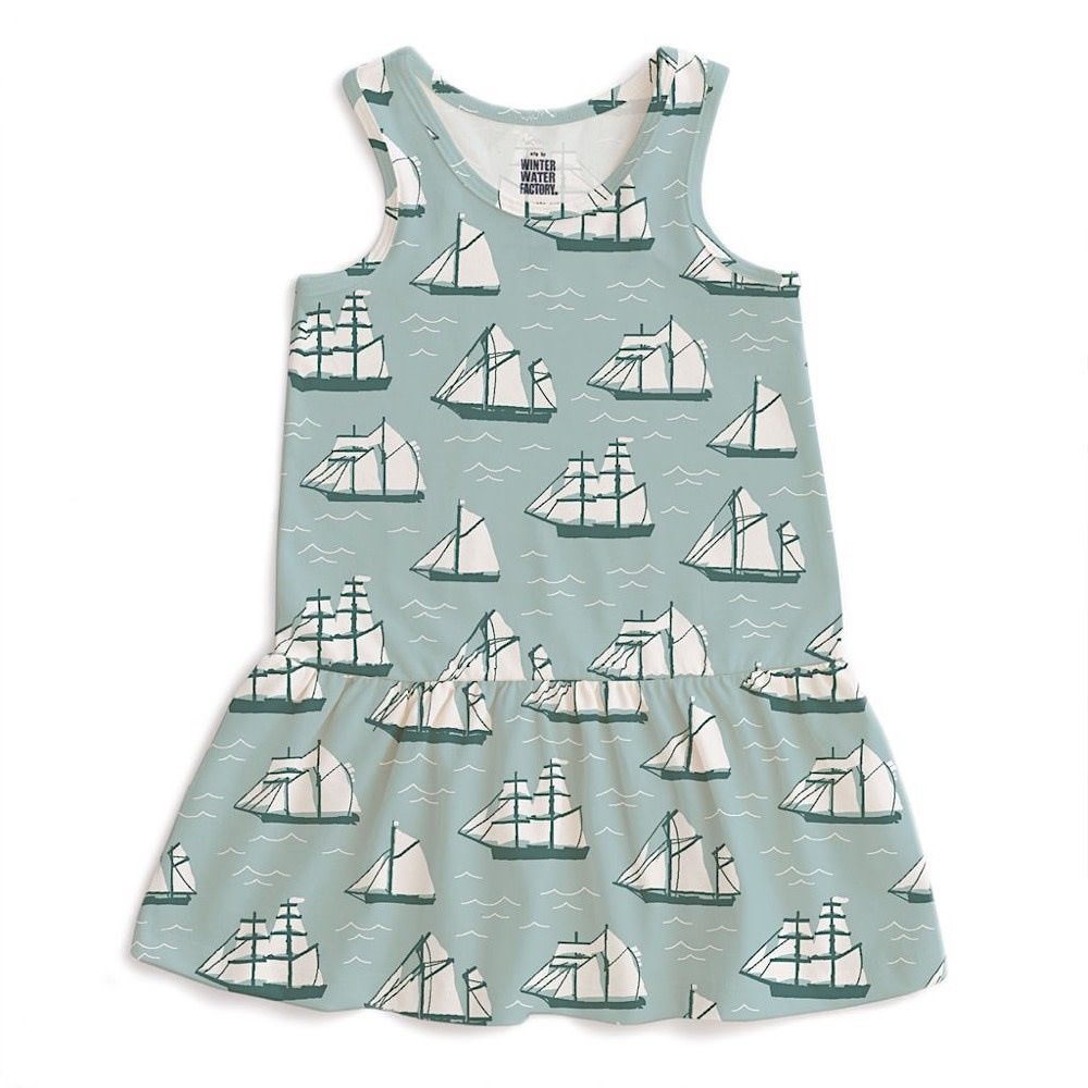 Winter Water Factory Winter Water Factory Valencia Dress - Vintage Sailboats Ocean Blue & Teal