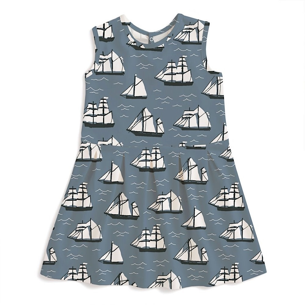 Winter Water Factory Winter Water Factory Essex Dress - Vintage Sailboats Slate Blue & Black