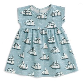Winter Water Factory Winter Water Factory Merano Baby Dress - Vintage Sailboats Ocean Blue & Teal