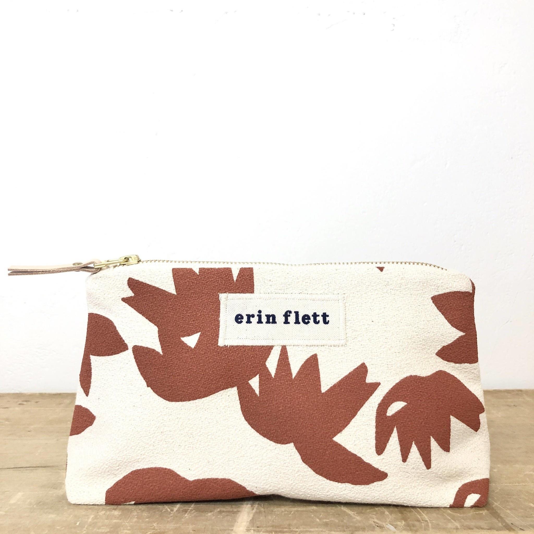 Erin Flett Bark Cloth Makeup Zipper Pouch - Clay Lotus - Natural Zip