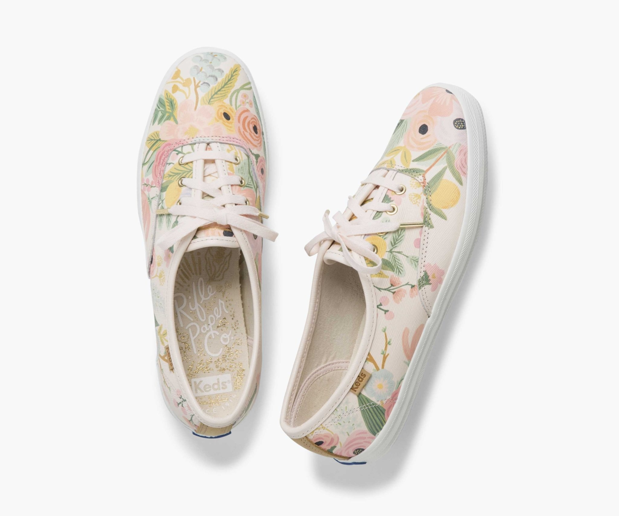 KEDS Adult + Rifle Paper Co. - Leather Champion / Garden Party - Pink