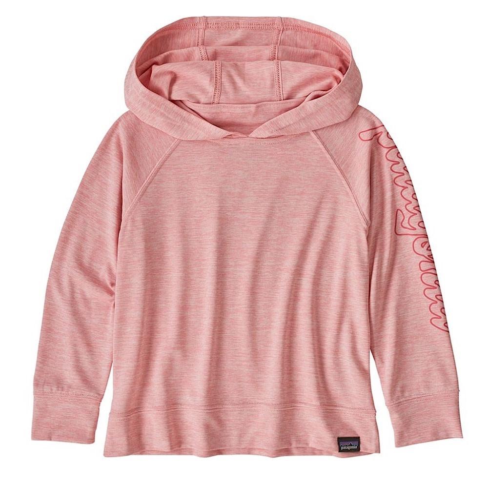 Patagonia Baby Cap Cool Daily Sun Hoody - Fitz Script Rosebud Pink