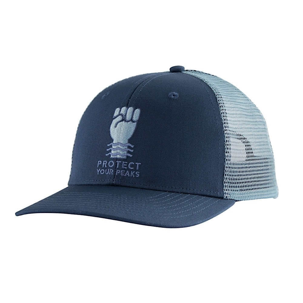 Patagonia Trucker Hat - Protect Your Peaks - Stone Blue