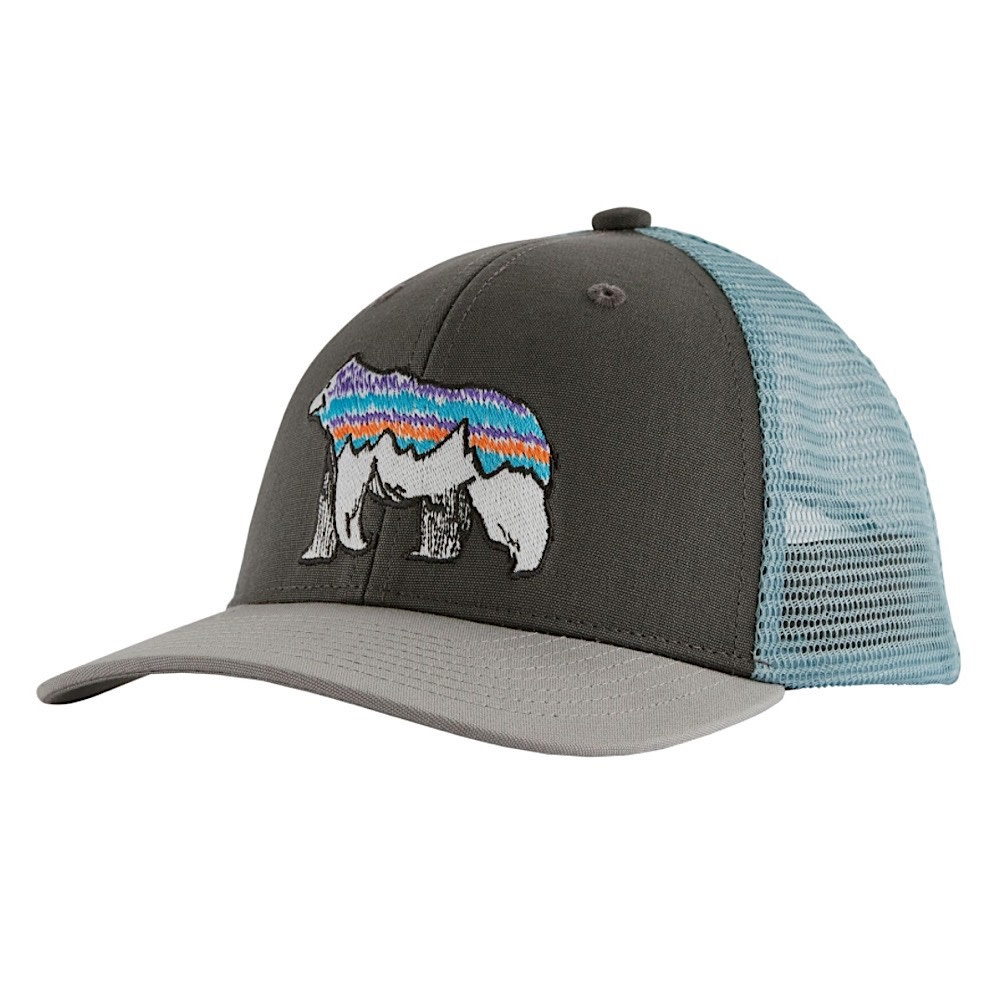 Patagonia Trucker Hat Kids - Illustrated Fitz Bear - Forge Grey