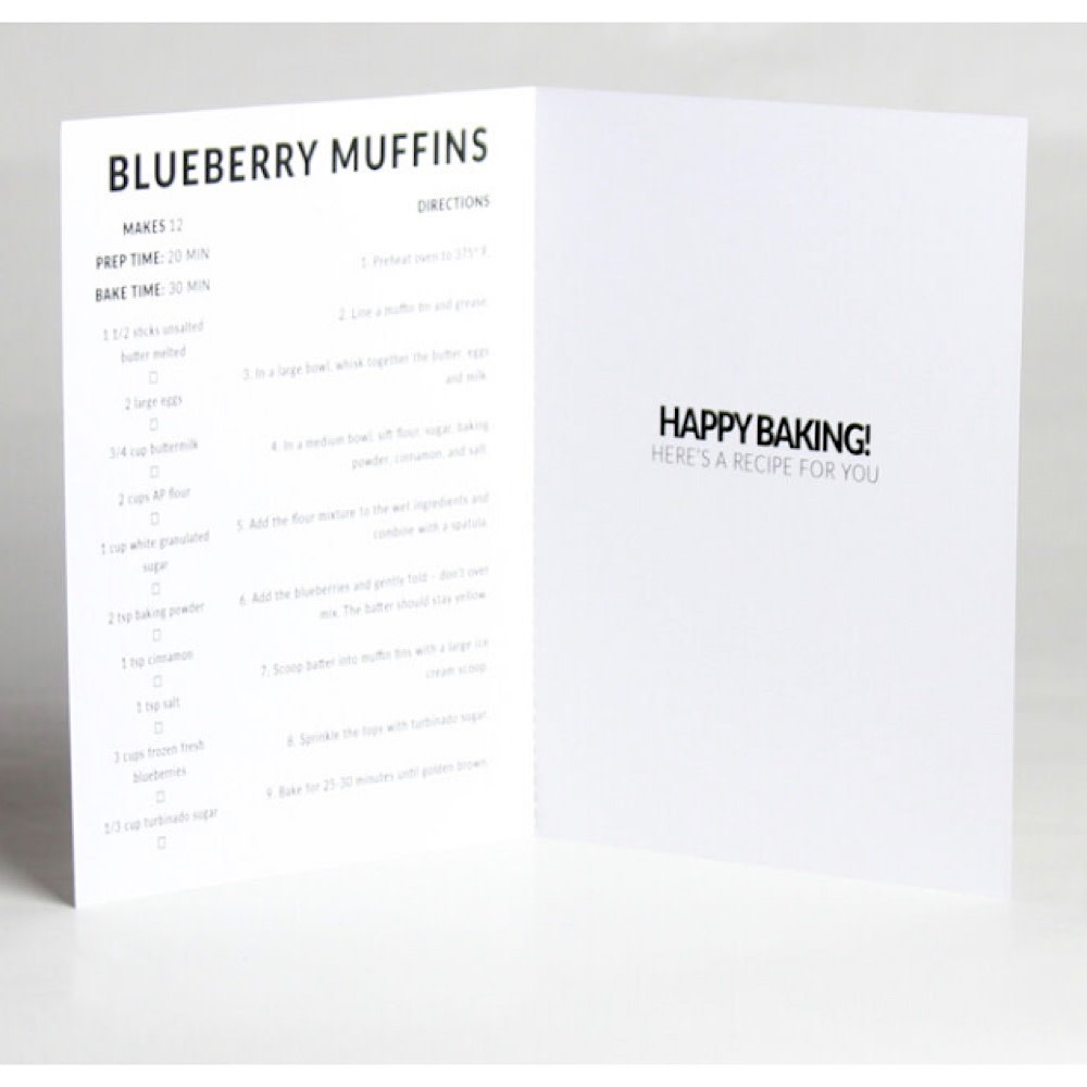 Happy Cooking Cards - Recipe Card - Blueberry Muffin