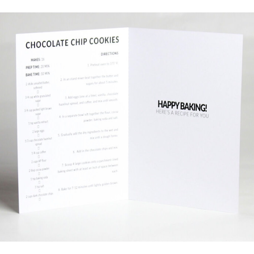 Happy Cooking Cards - Recipe Card - Chocolate Chip Cookie