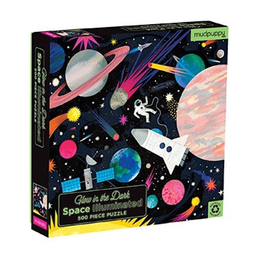 Galison Mudpuppy Space Illuminated Glow in the Dark Jigsaw Puzzle - 500 Piece