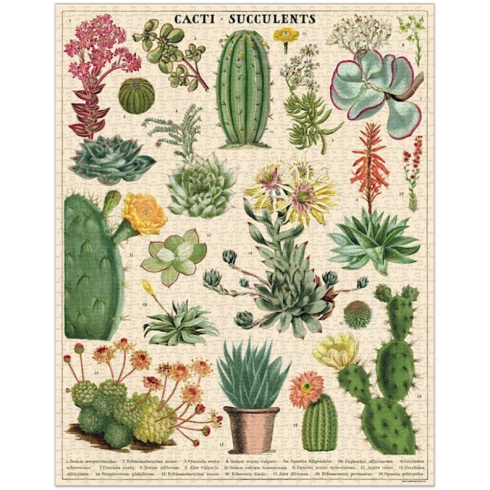 Cavallini Jigsaw Puzzle - Cacti & Succulents - 1000 Pieces
