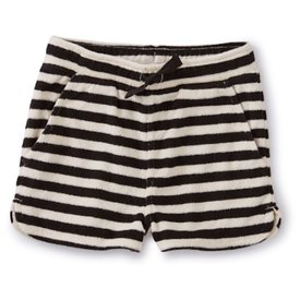 Tea Collection Stripe Terry Cloth Shorts - Jet Black