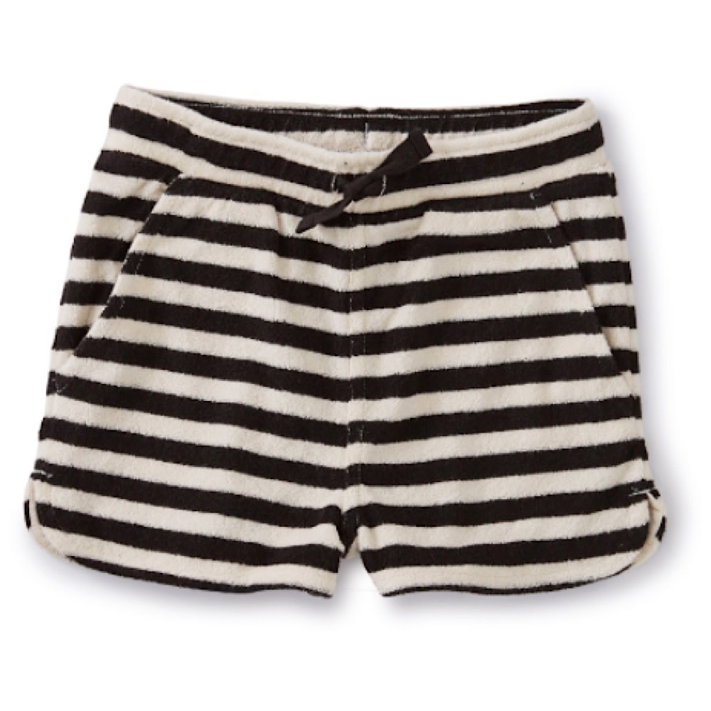 Tea Collection Tea Collection Stripe Terry Cloth Shorts - Jet Black
