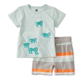 Tea Collection Babboon Baby Set - Seafoam