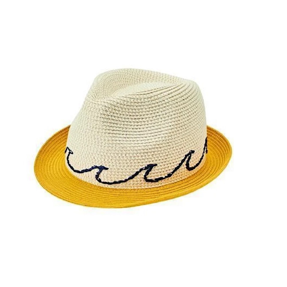 San Diego Hat Company Kids Fedora - Natural with Wave