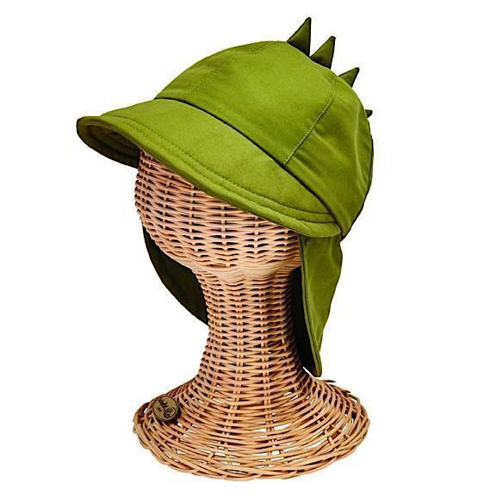 San Diego Hat Company Kids Flap Cap - Dinosaur - Olive - 1-2Y