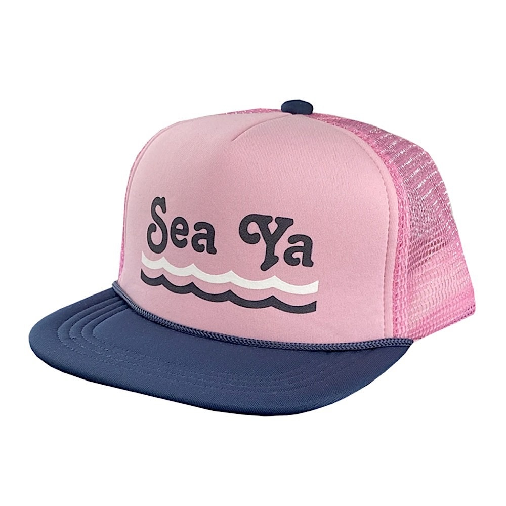 Tiny Whales See Ya Hat - Pink/Navy