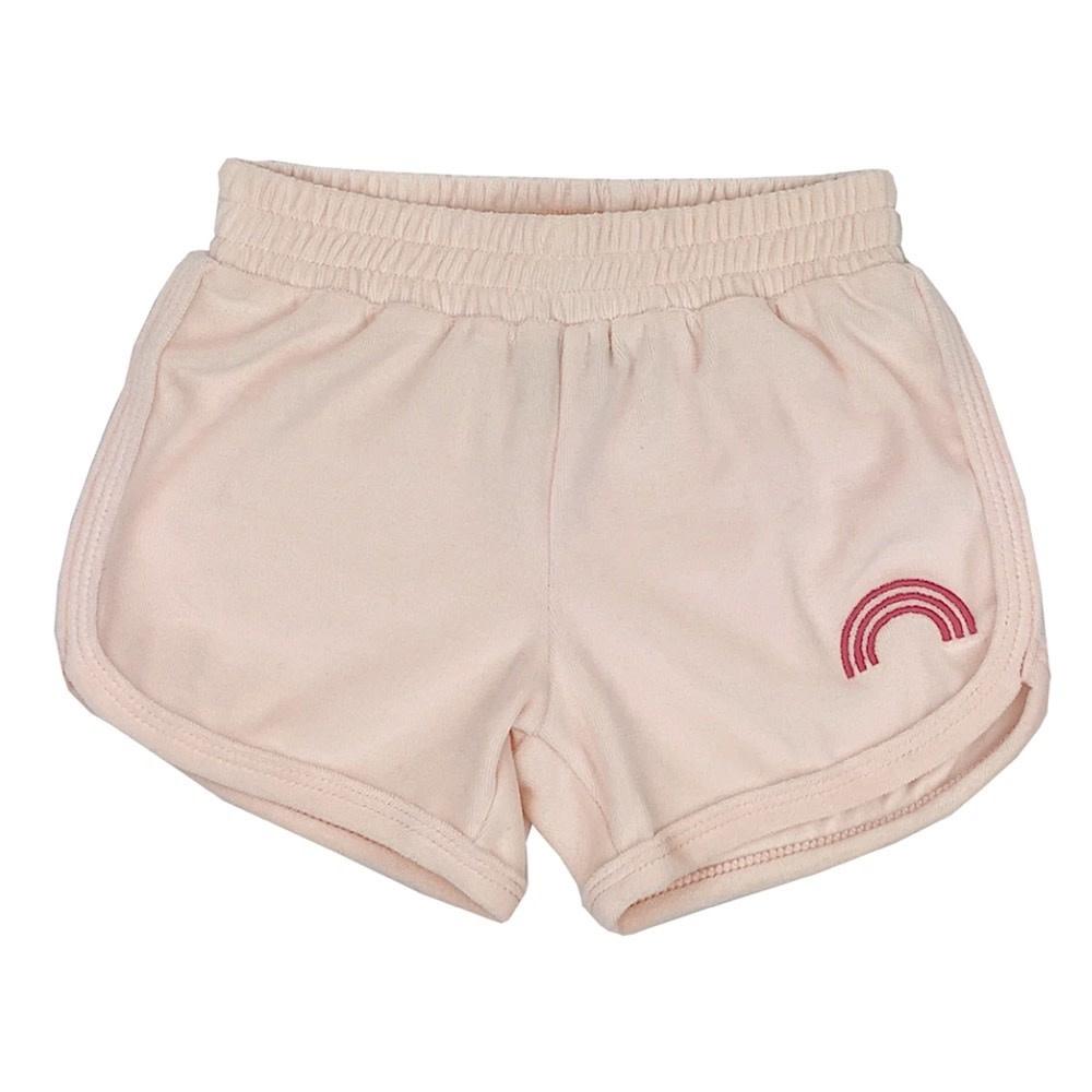 Tiny Whales Rainbow Shorts - Blush Velour