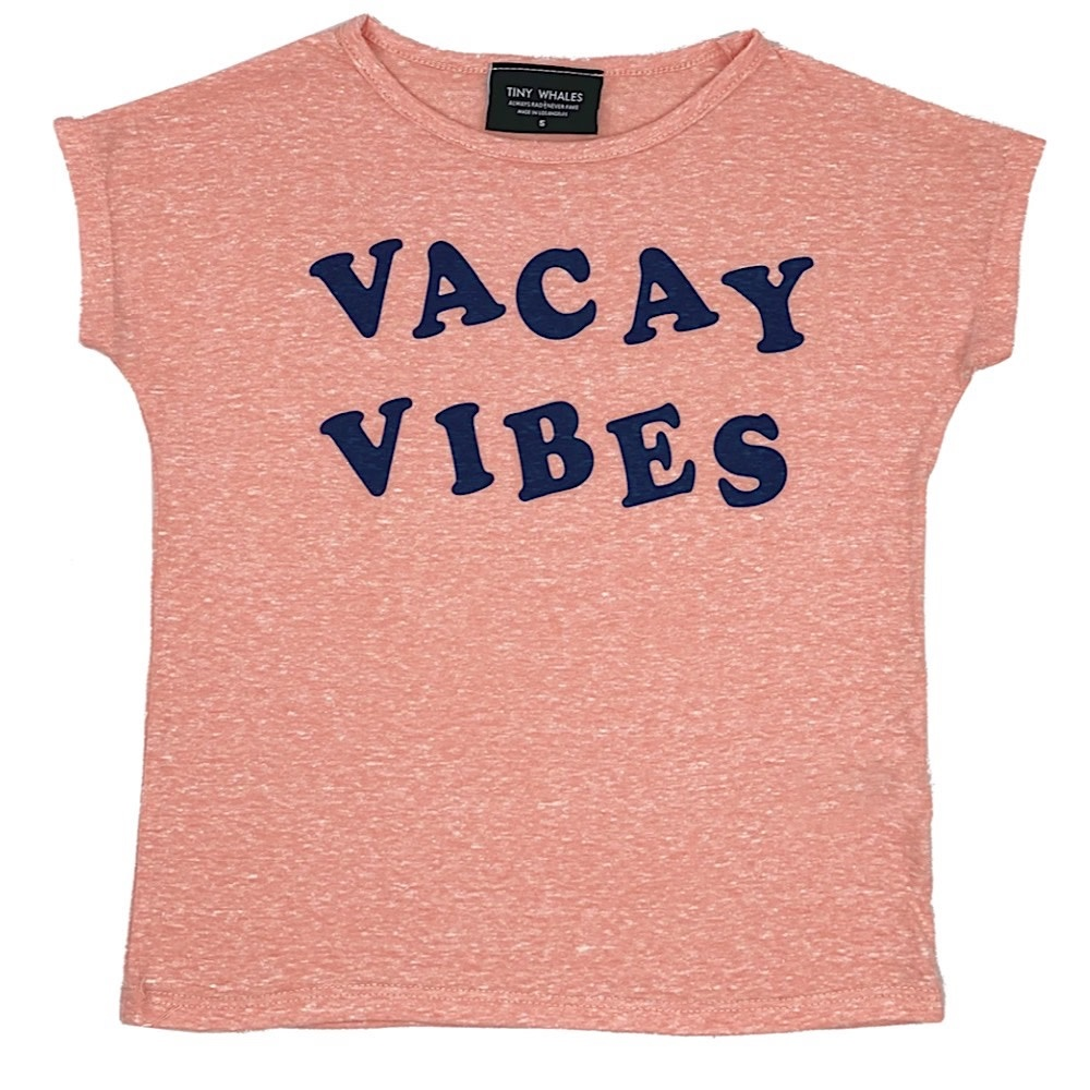 Tiny Whales Vacay Vibes Dolman Tee - Tri Coral