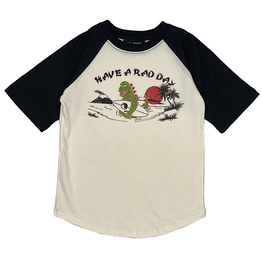 Tiny Whales Tiny Whales Rad Day Raglan Tee - Natural/Black