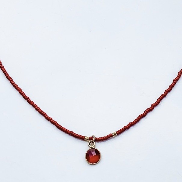 Sarah Crawford Beaded Necklace - Red - Garnet Quartz