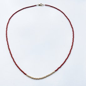Sarah Crawford Handcrafted Sarah Crawford Beaded Necklace - Red - Gold Center Band
