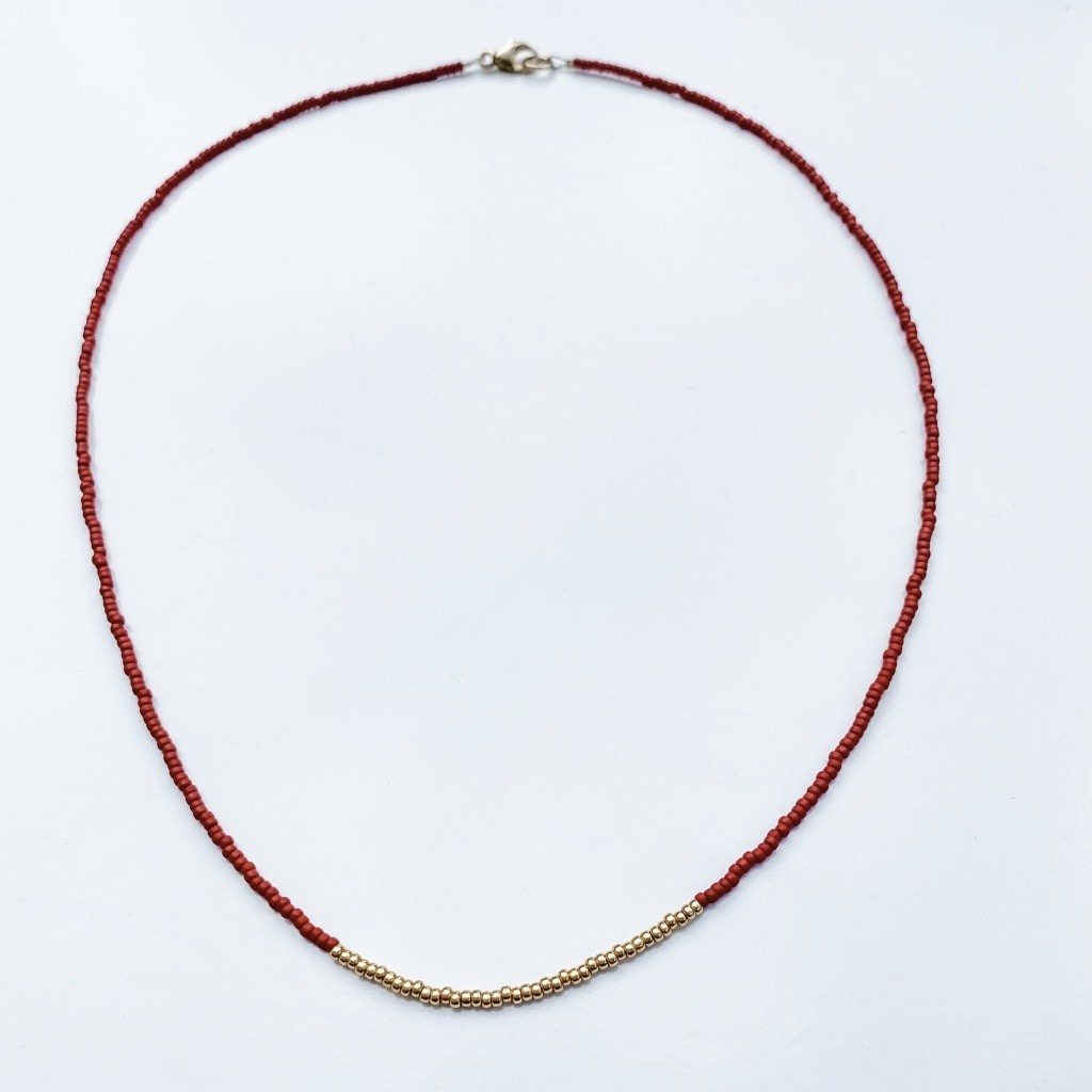 Sarah Crawford Beaded Necklace - Red - Gold Center Band