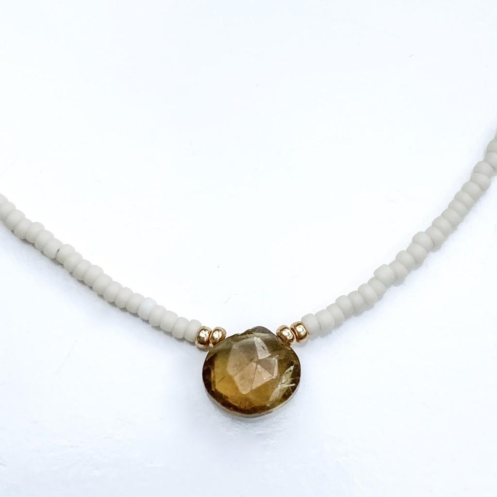 Sarah Crawford Beaded Necklace - Cream - Brown Quartz