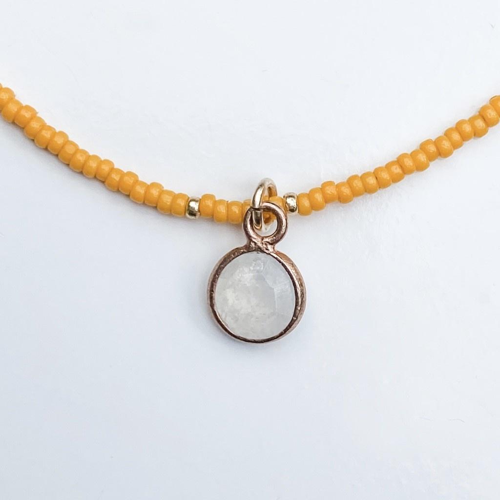 Sarah Crawford Handcrafted Sarah Crawford Beaded Necklace - Kumquat - Round Moonstone Pendant