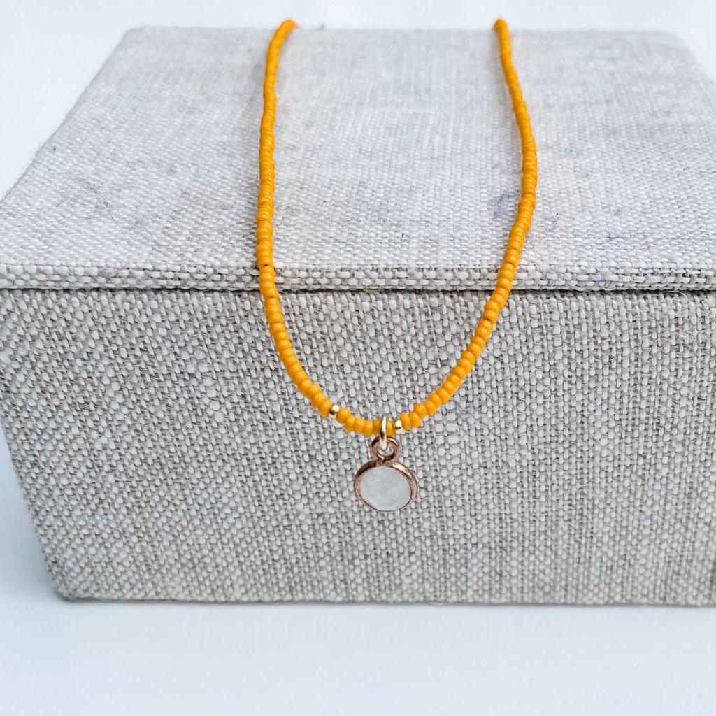 Sarah Crawford Beaded Necklace - Kumquat - Round Moonstone Pendant