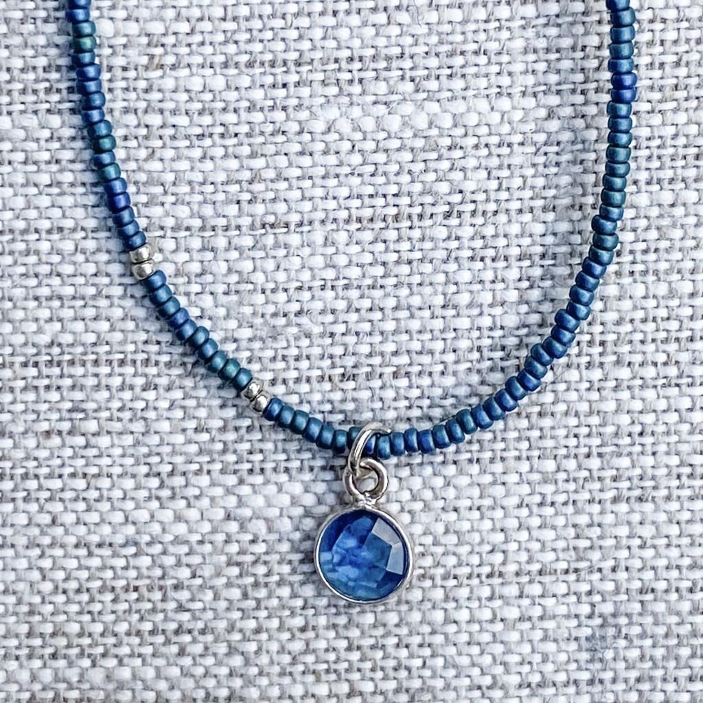 Sarah Crawford Beaded Necklace - Dark Harbor - Kyanite