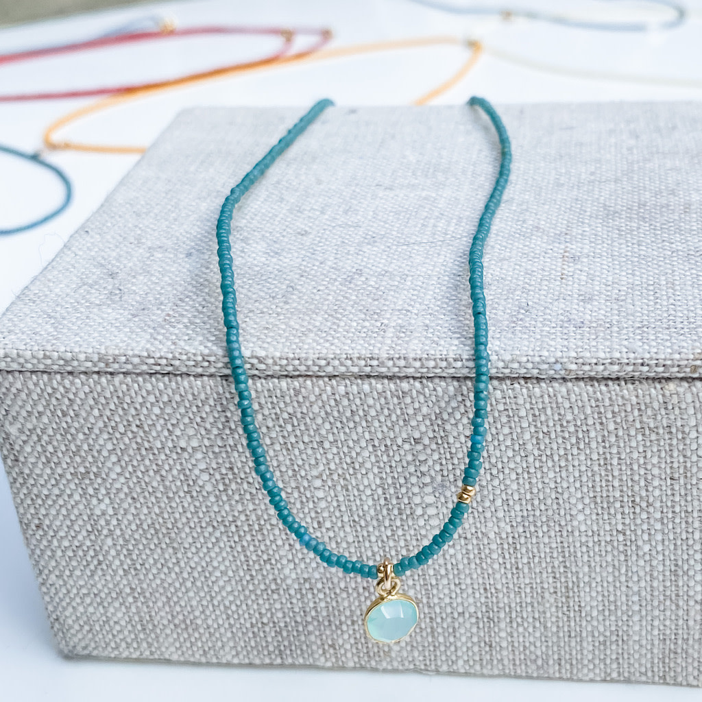 Sarah Crawford Beaded Necklace - Eucalyptus - Small Chalcedony Pendant