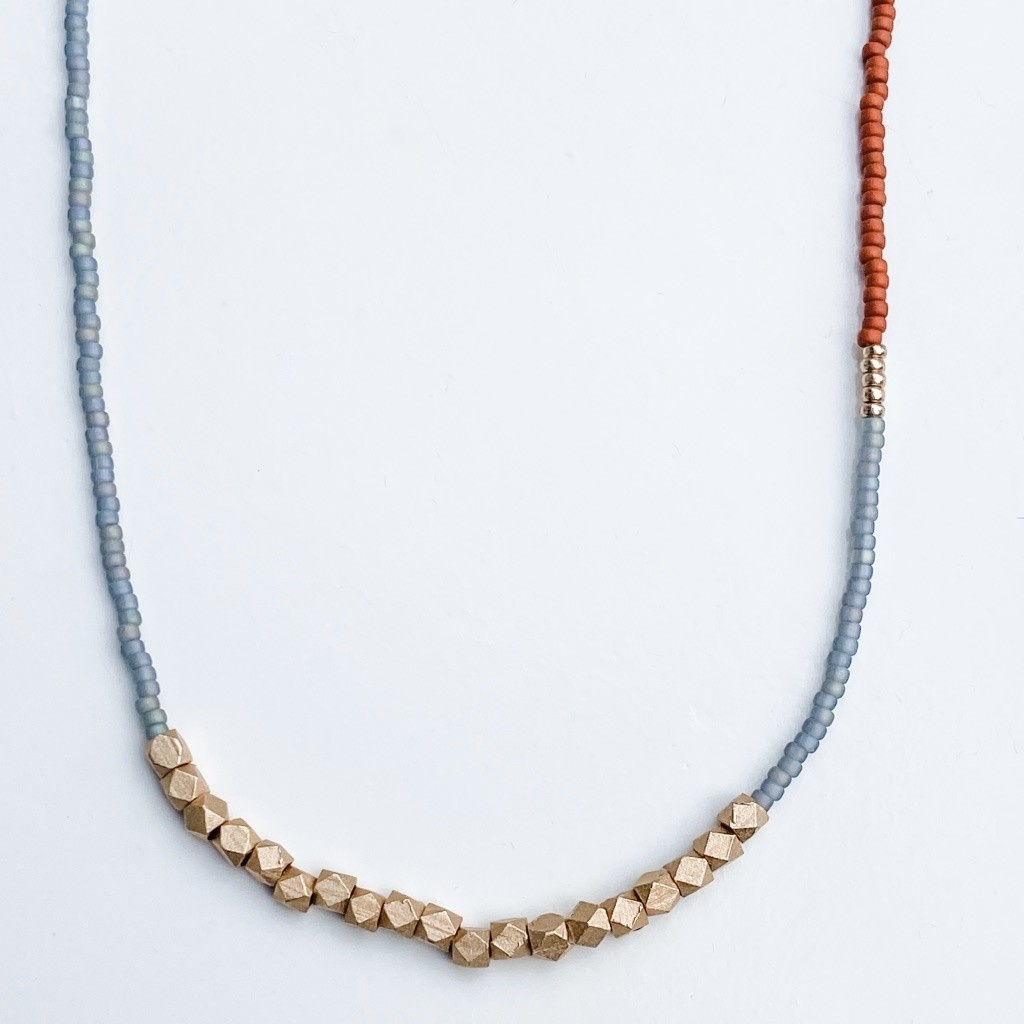 Sarah Crawford Asymmetric Beaded Necklace in Octopus and Chestnut- Rose Gold Nugget