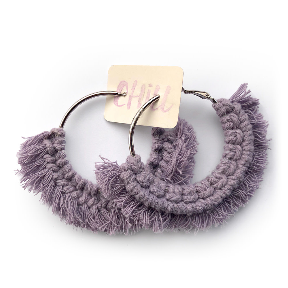 C/Hill Macrame Earrings - Lavender on Silver