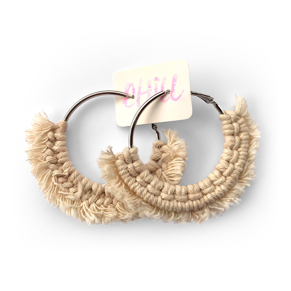 C/Hill Macrame Earrings - Natural on Silver