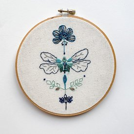 "Stitched On Langsford Embroidered Hoop 6"" - Dragonfly"