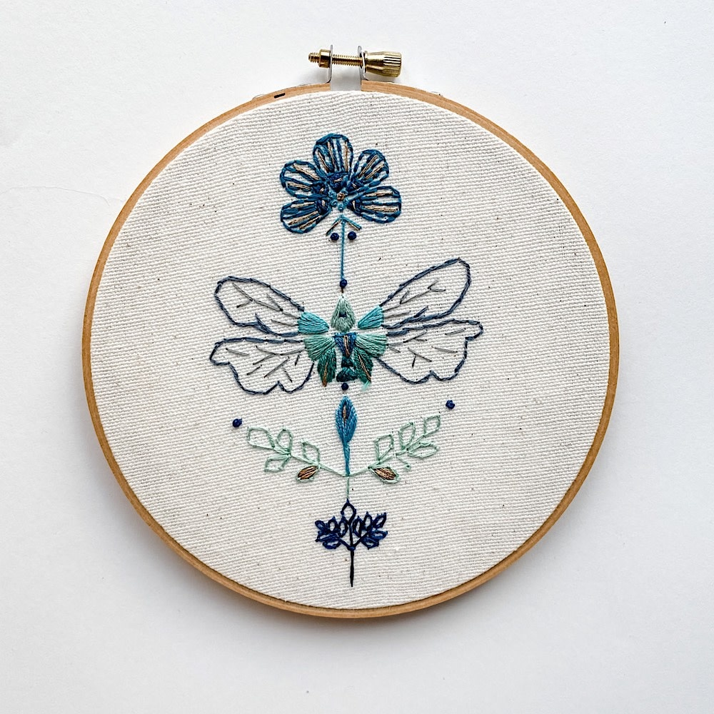 "Embroidered Hoop 6"" - Dragonfly"