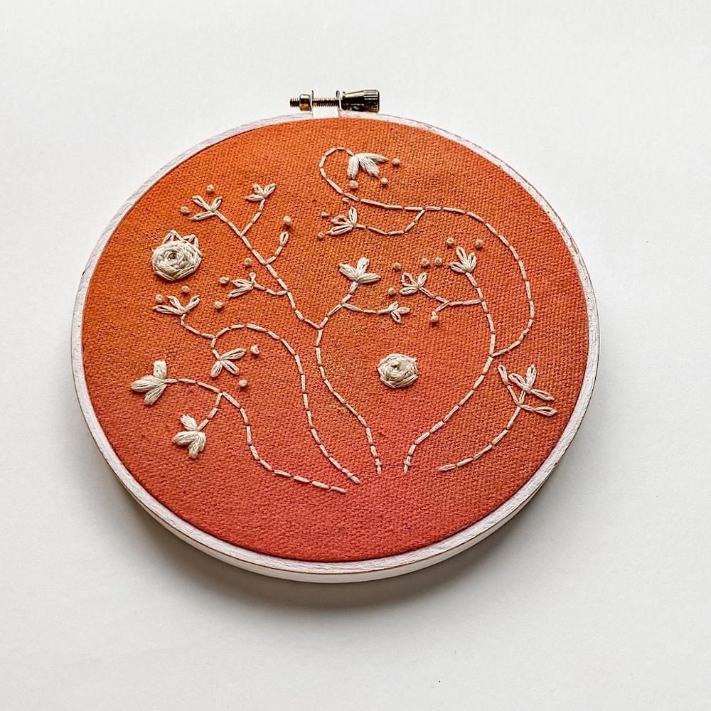 "Embroidered Hoop 5"" - Peach Flowers"