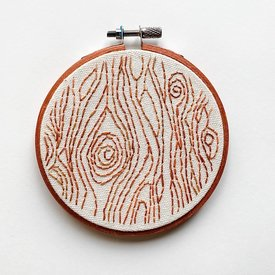 "Stitched On Langsford Embroidered Hoop 4"" - Bark"