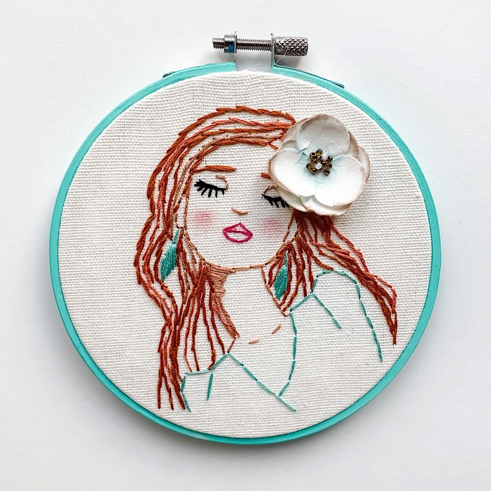 "Stitched On Langsford Embroidered Hoop 5"" - Caroline"