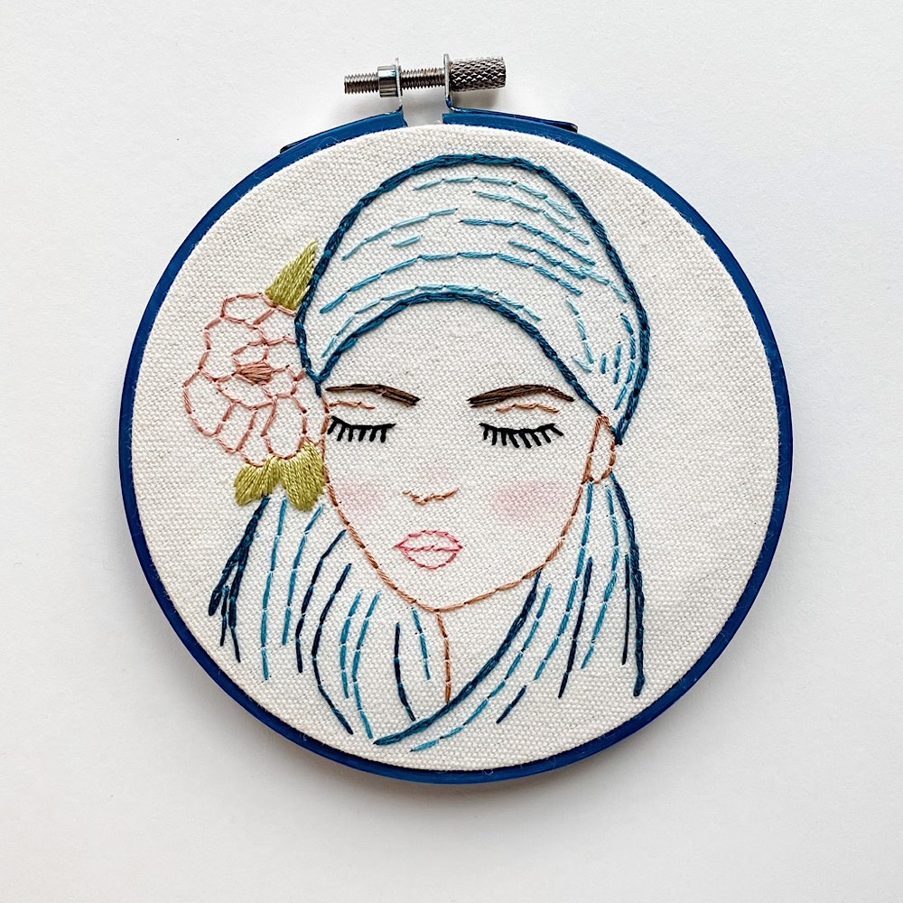 "Stitched On Langsford Embroidered Hoop 5"" - Esme"