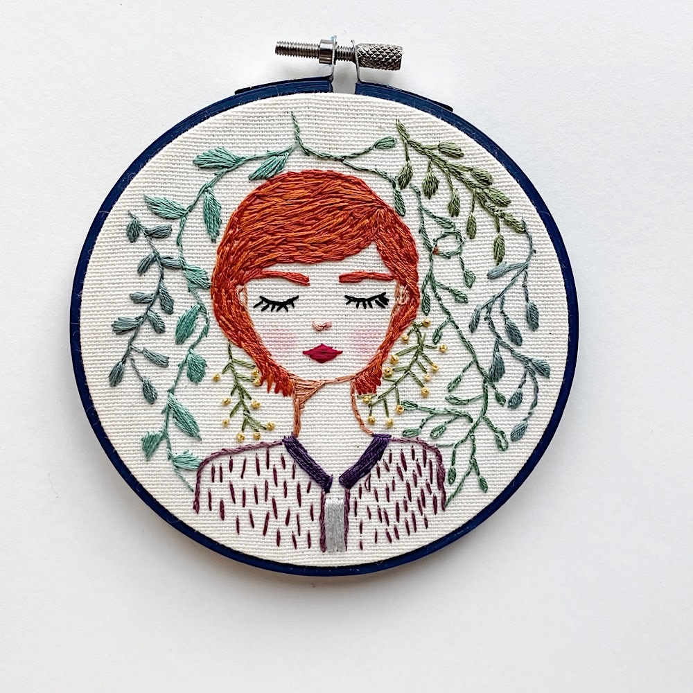 "Stitched On Langsford Embroidered Hoop 5"" - Willow"