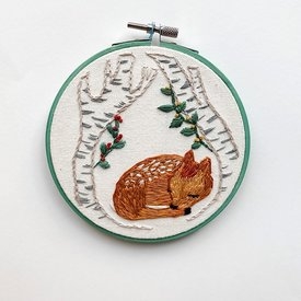 "Stitched On Langsford Embroidered Hoop 5"" - Fawn"