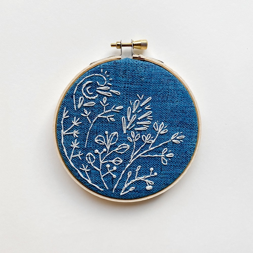 """Stitched On Langsford Embroidered Hoop 4"""" - Blue Flowers"""