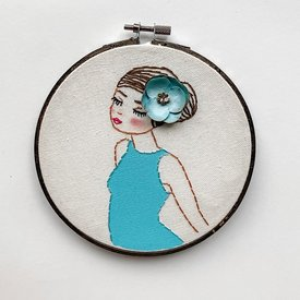 "Stitched On Langsford Embroidered Hoop 6"" - Wading"