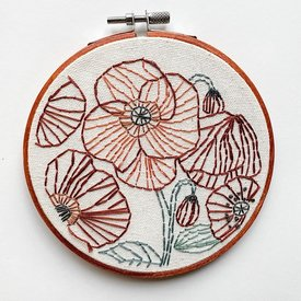 "Stitched On Langsford Embroidered Hoop 5"" - Poppies"