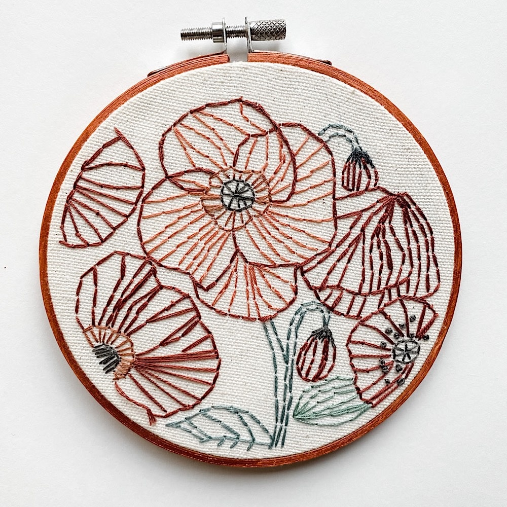 """Stitched On Langsford Embroidered Hoop 5"""" - Poppies"""