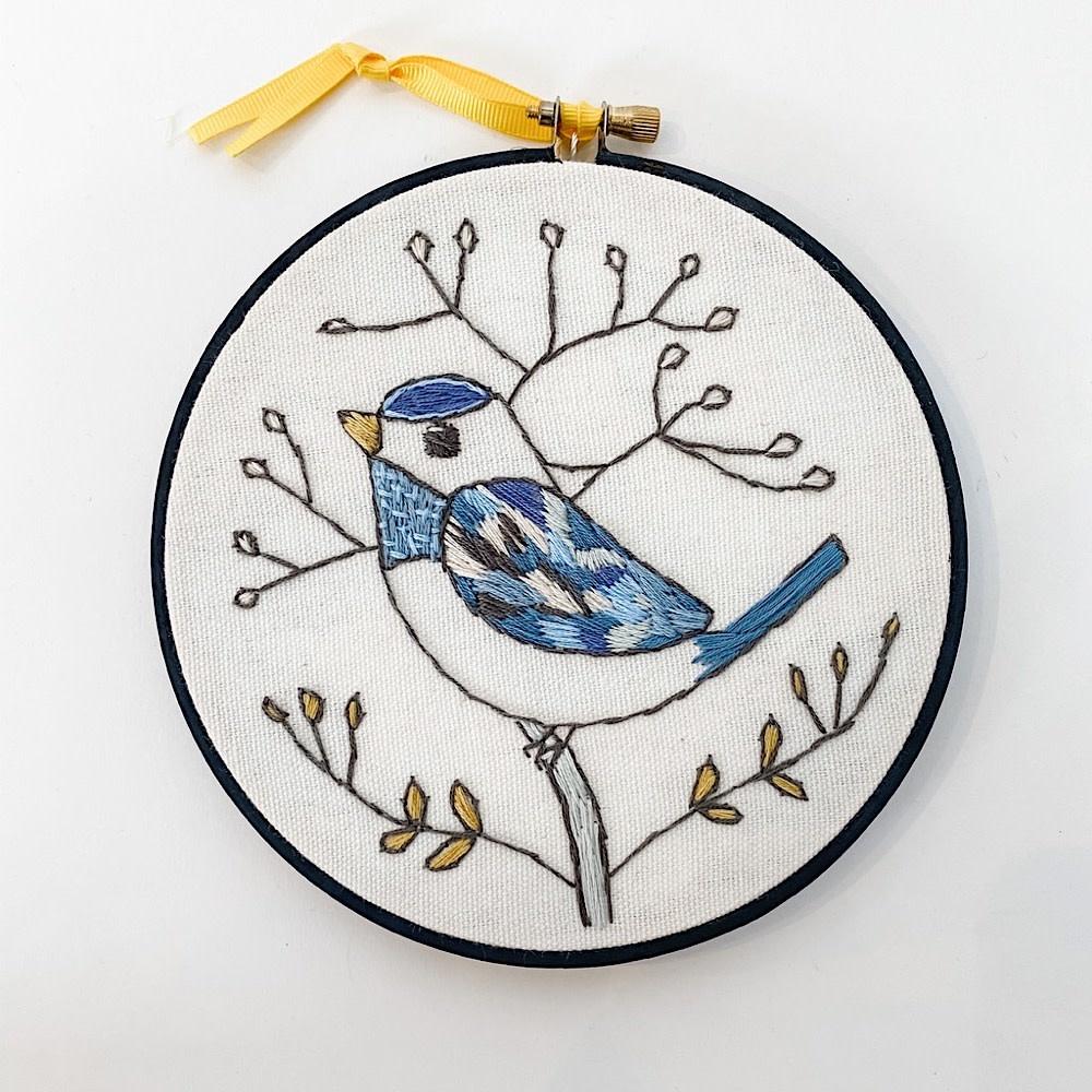 "Embroidered Hoop 6"" - Blue Bird"