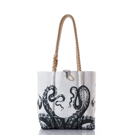 Sea Bags Sea Bags Species Tote - Black Octopus - Hemp Handles - Small