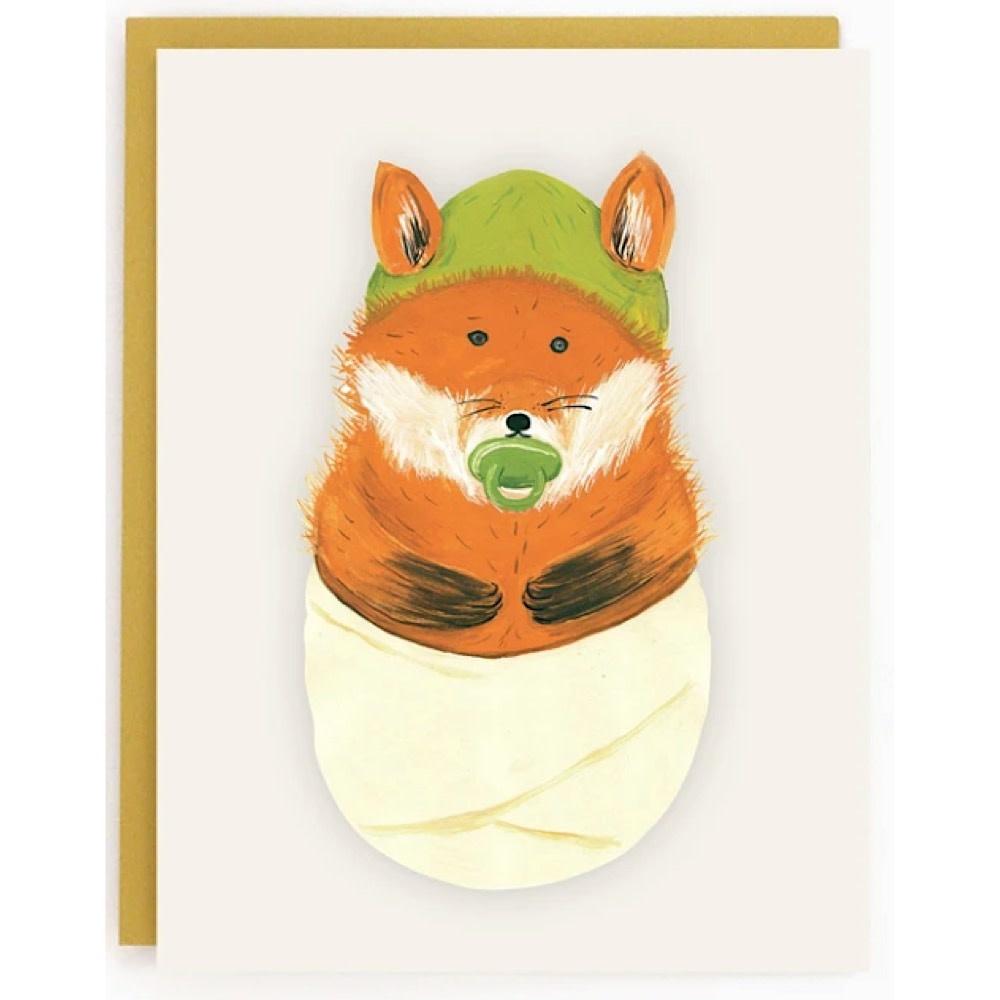 Made In Brockton Village Card - Baby Fox